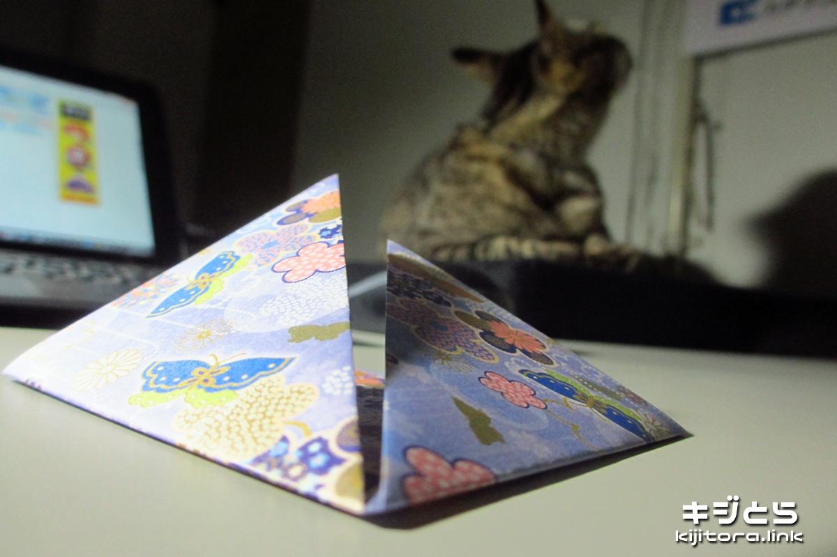 2016-07-09 猫のためにカブトの折り紙制作中