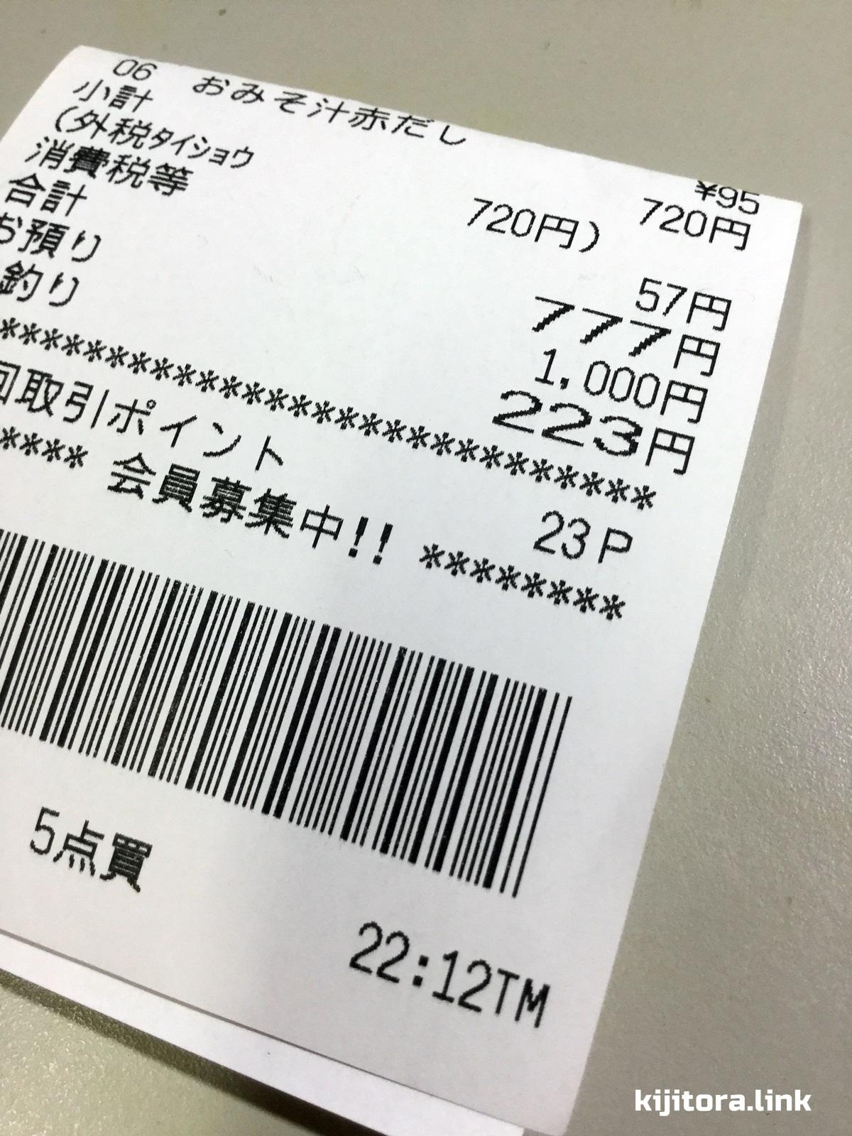777円のレシート