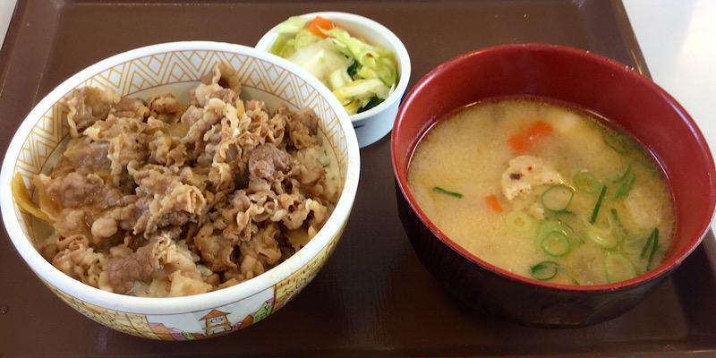 すき家の豚汁セット(高知県南国市)
