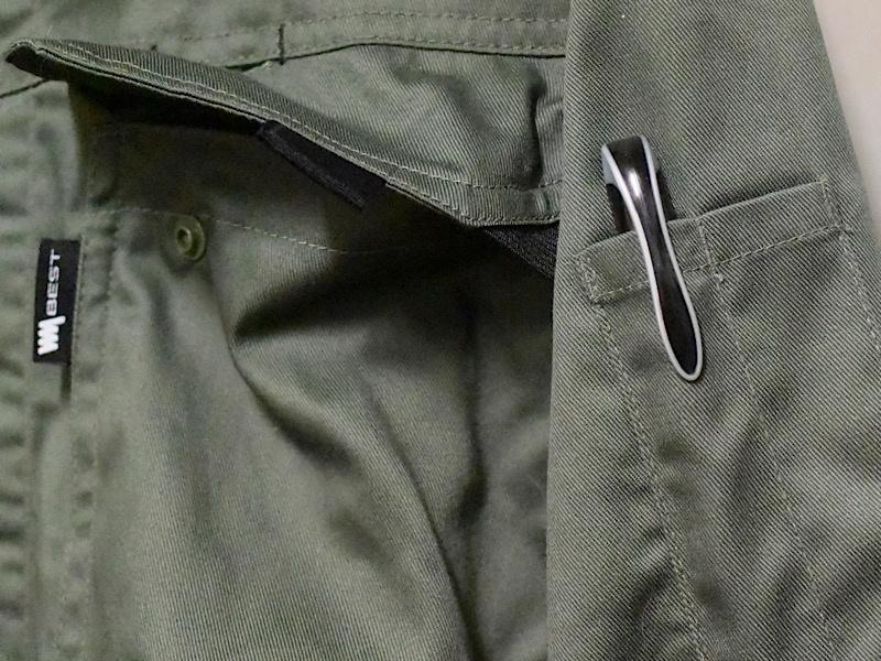 ワークマン 綿混腰伸びツナギ(品番WM3406)ペン入れポケット
